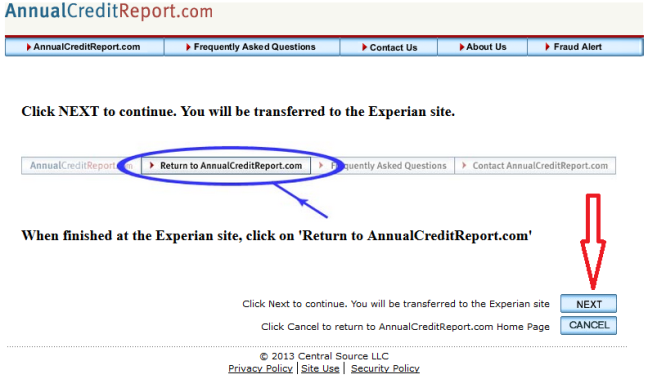 annual credit report site transfer