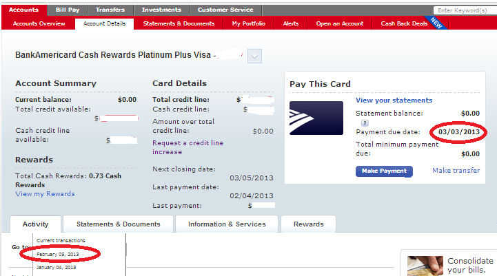 my cash rewards card actually gives me 26 days interest free following each statement cycle - Visa Credit Card Balance