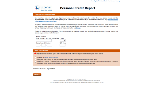 Experian credit report return