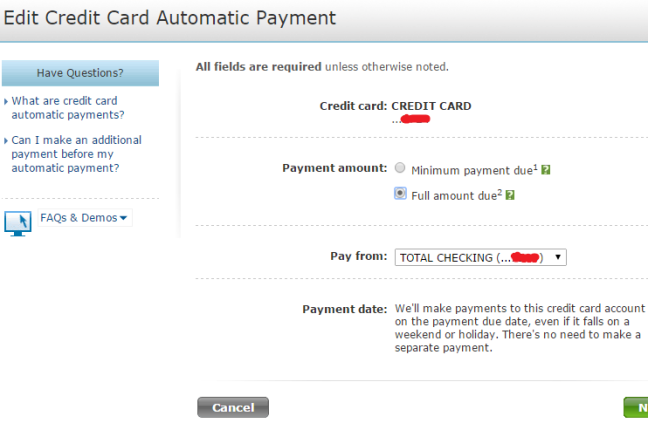 Set up automatic payment for your credit card